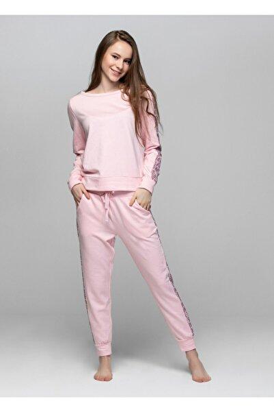 Kadın Pembe Kışlık Pantolon Set