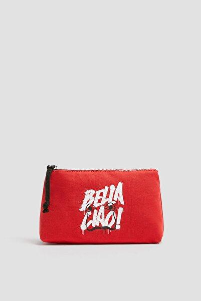 Pull & Bear Kadın Kırmızı Kırmızı La Casa de Papel x Pull&Bear makyaj çantası 14159540