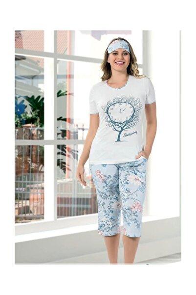 Manolya Bayan Kısa Kol Kaprili Pijama Takımı