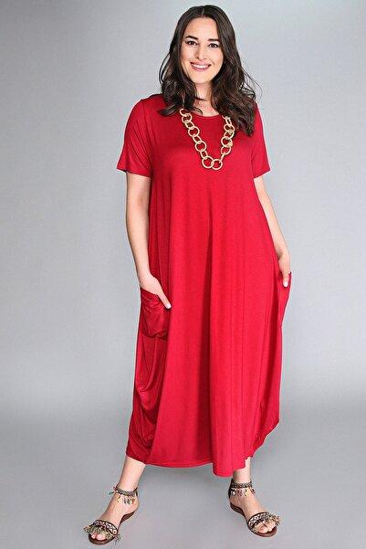 Moda Cazibe Büyük Beden Jumbo Kısa Kol Elbise
