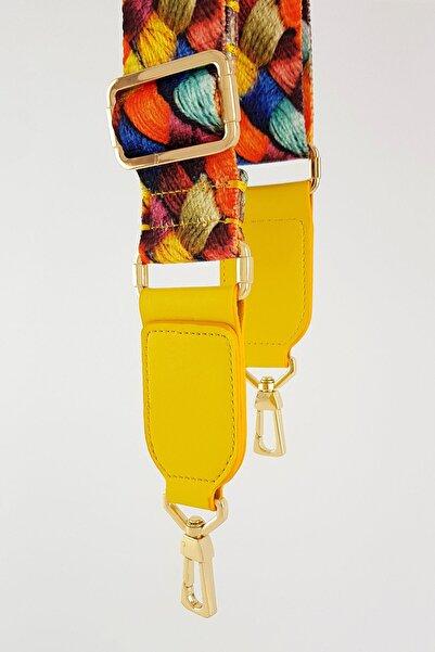 FAEN Renkli Hasır Örgü Sarı Deri Kare Uç Çanta Askısı Gold Metal