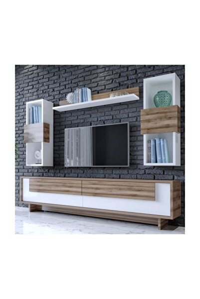 BMdekor Tv Ünitesi Alessa 1 Beyaz Ceviz 160 cm - Modatte