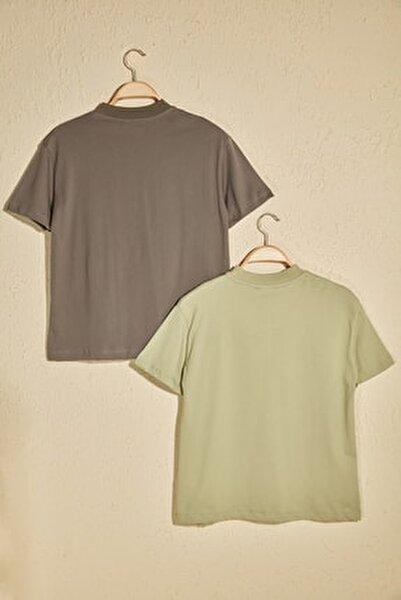 Mint Dik Yaka 2'li Paket Basic Örme Tshirt T-Shirt TWOSS20TS1500