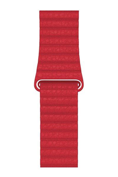 Melefoni Apple Watch Deri Loop Kordon 44 Mm Kayış Kırmızı