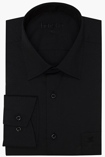 Erkek Siyah Klasik Kesim Takım Elbise Gömleği - H111125