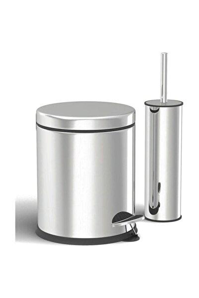Paslanmaz 3 lt Çöp Kovası - Klozet Fırçası 2'li Banyo Seti( Parlak )