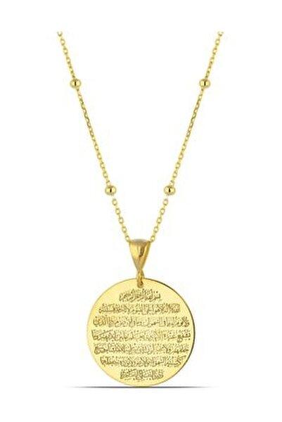 Ayetel Kürsi Yazılı Gümüş Madalyon Kolye Kadın Altın
