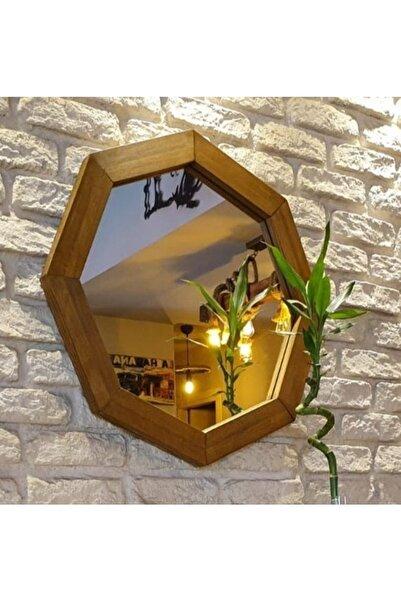 Vivense Neostill Doğal Ahşap Masif Çerçeve Dekoratif Sekizgen Ayna