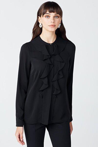 Ekol Kadın Siyah Önü Fırfırlı Bluz 20K.EKL.BLZ.02023.1
