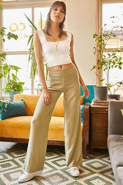 Olalook Kadın Su Yeşili Beli Lastikli Tensel Salaş Pantolon PNT-19000082
