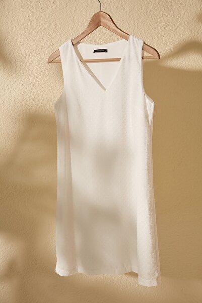 Ekru Dokulu Kumaş Elbise TWOSS20EL2956