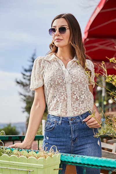 Kadın Taş Trasparan Dantelli Gömlek STN262KGO113