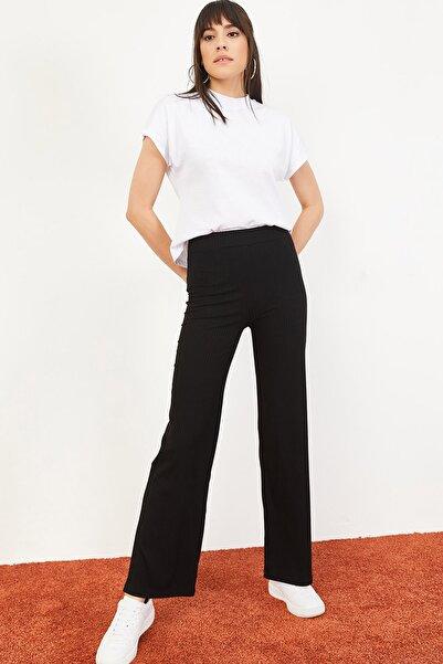 Kadın Siyah İspanyol Paça Beli Lastikli Rahat Pantolon 10051020