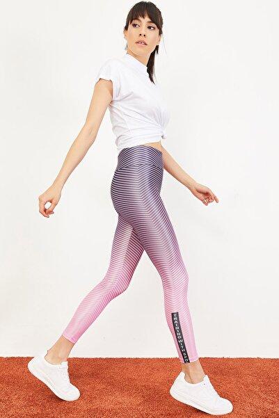 Bianco Lucci Kadın Çok Renkli Dijital Baskılı Yüksek Bel Toparlayıcı Spor Tayt 10051022
