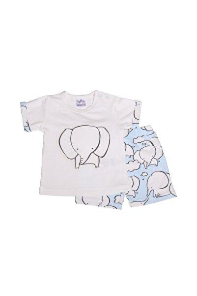 Luggi Baby Erkek Filli Beyaz Kısa Kollu Üst & Mavi Şort Takım Lg-5083