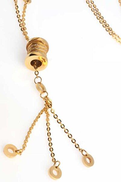Welch Kadın Küçük Halka Gold Çelik Kolye 6215-91
