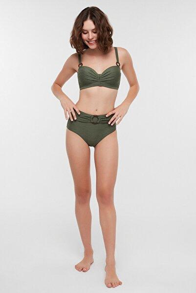Kadın Koyu Yeşil Marble Lotus Bikini Üstü