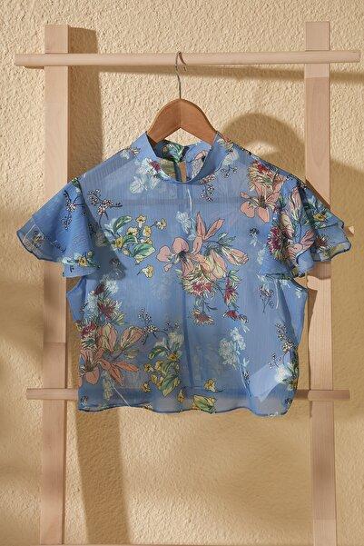 Mavi Çiçek Desenli Bluz TWOSS20BZ0982