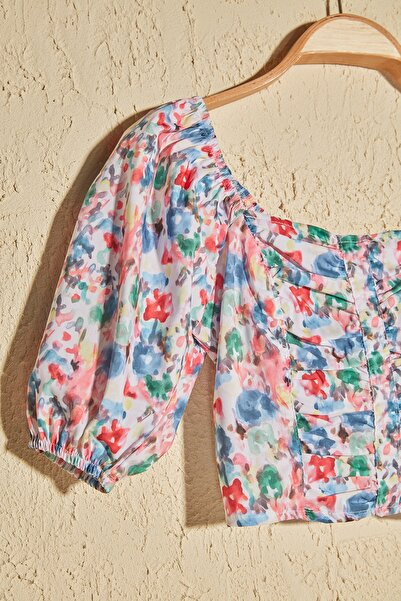 Çok Renkli Çiçek Desenli Bluz TWOSS20BZ1276
