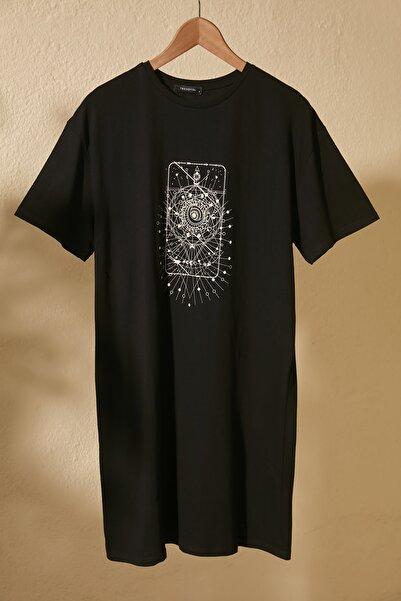 Siyah Baskılı Örme Elbise TWOSS20EL3278