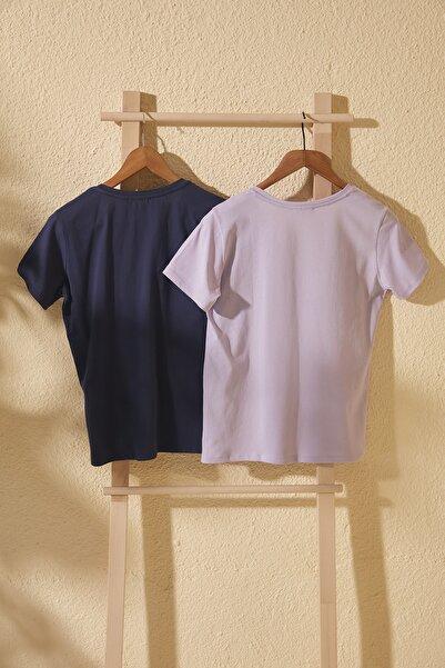 Lila ve Lacivert 2'li Paket %100 Pamuk V Yaka Basic Örme  T-Shirt TWOSS20TS1478