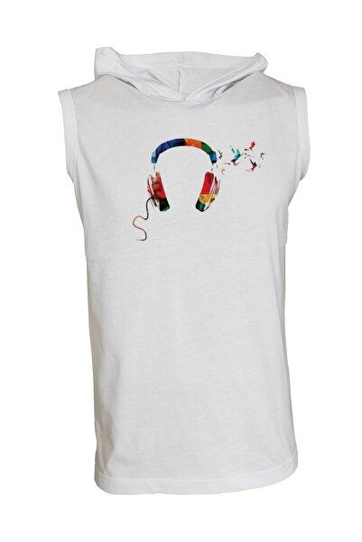 Unisex Baskılı Kapşonlu Kolsuz Beyaz T-shirt
