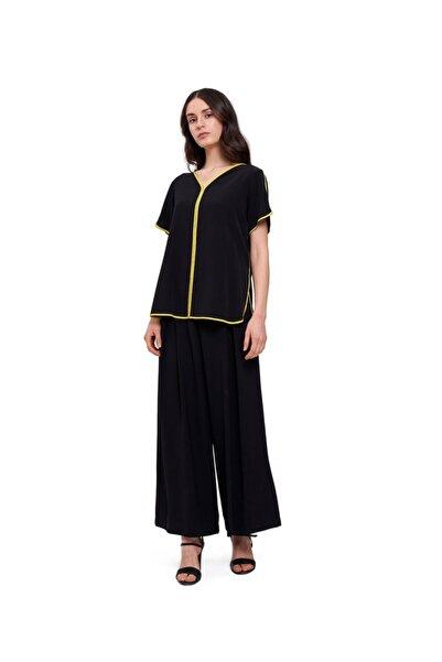 Mizalle Mızalle Çizgi Biyeli Bluz (siyah)