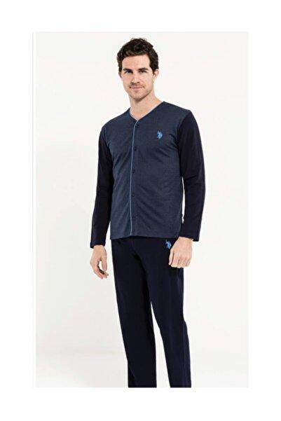 U.S. Polo Assn. Us Polo Assn Erkek Lacivert 2 Uzun Kollu Pijama + 1 Sabahlık Us.01.12002