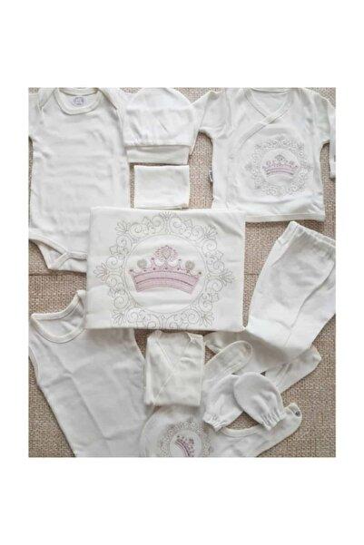 100522 Kız Bebek 10 Parça Taç Işlemeli 0-3 Ay Hastane Çıkışı Seti