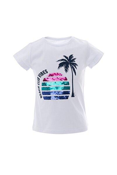 Kız Çocuk Nakışlı T-Shirt 3-7 Yaş Beyaz