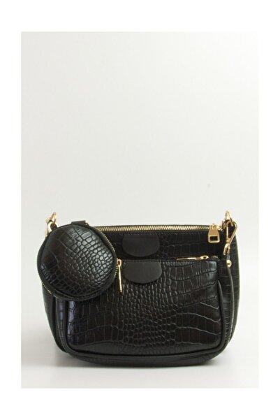 Bag Kadın Siyah Kroko Çüzdanlı Askılı Çanta Fb2199