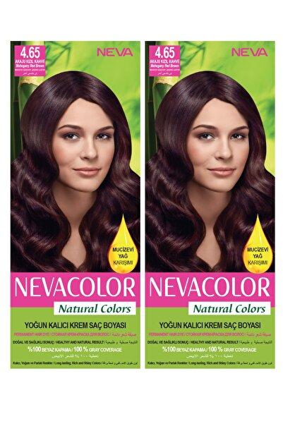 Neva Color 2'li Natural Colors 4.65 Akaju Kızıl Kahve - Kalıcı Krem Saç Boyası Seti 8681655541765