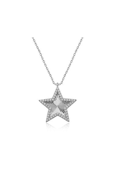 Gumush Gümüş Fırfır Desenli Yıldız Kolye