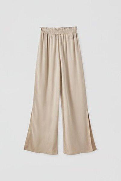 Kadın Kum Rengi Elastik Belli Keten Pantolon 05671307