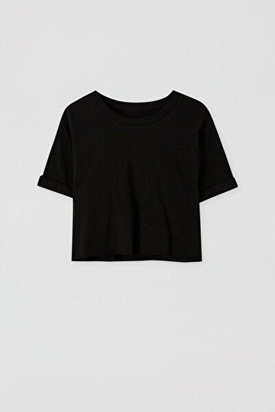 Kadın Siyah Kenarı Dikişsiz Crop Fit T-Shirt 05236327