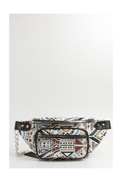 Fume London Bag Kadın Çok Renkli Desenli Bel Çantası Fb2057