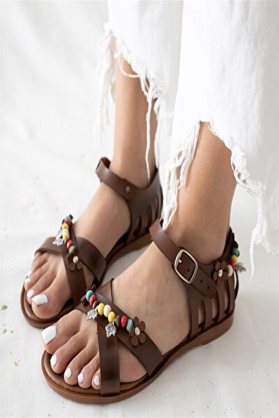 Arma House Kadın Hakiki Deri Boncuk , Yapraklı Sandalet