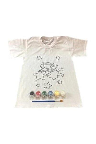 4-5 Yaş Tişört Boyama Seti+kumaş Boyama+melek Kız Desenli