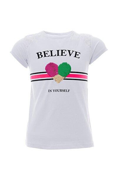 Kız Çocuk Tişört Çift Yön 3D Pul Payetli T-Shirt 8-12 Yaş Beyaz