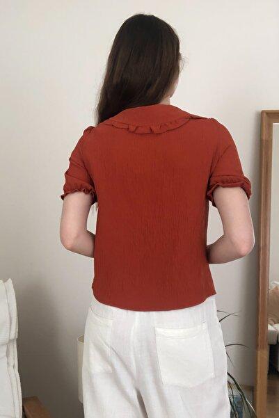 Kiremit Yaka Detaylı Gömlek TWOSS20GO0439