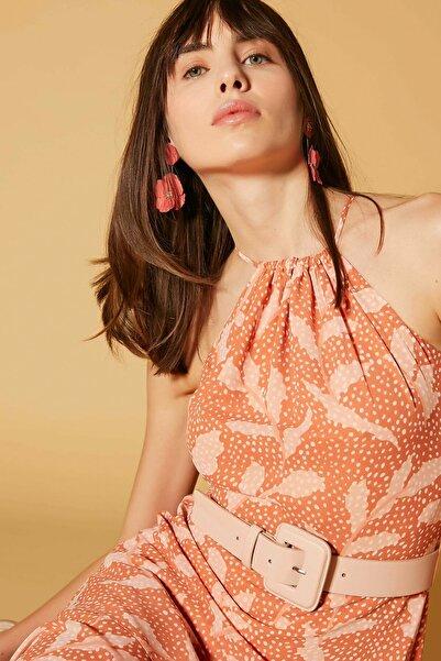 İpekyol Kadın Turuncu Fırfır Şeritli Elbise IS1200002488019