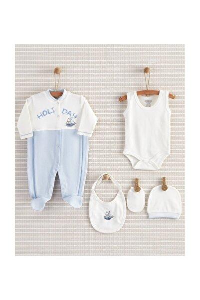 Holiday Erkek Bebek Pamuklu Yenidoğan Hastane Çıkışı Bebek Hediyesi Zıbın 5li Seti
