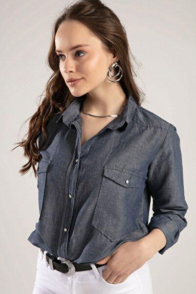 Kadın Füme Cepli Çıt Çıt Düğmeli Keten Gömlek Y20S102-2018