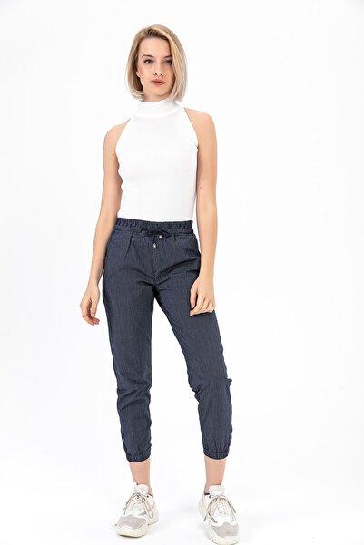TIFFANY&TOMATO Kadın Lacivert Beli Paçası Lastikli Pantolon Y20013_PNT_891D_T_D1