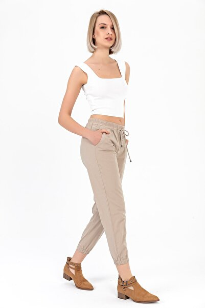TIFFANY&TOMATO Kadın Vizon Beli Paçası Lastikli Pantolon Y20013_PNT_891D_T_D1