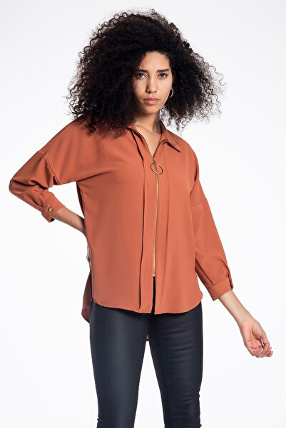TIFFANY&TOMATO Kadın Tarçın Fermuarlı Charme Gömlek K20101_GMK_891D_T_D1