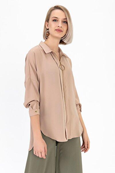 TIFFANY&TOMATO Kadın Vizon Fermuarlı Charme Gömlek K20101_GMK_891D_T_D1