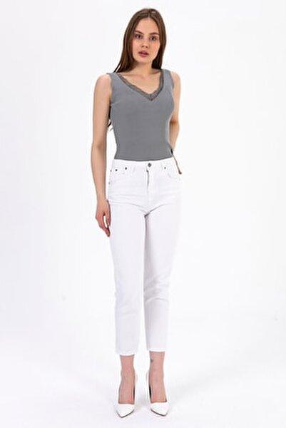 Kadın Beyaz Mom Jeans Pantolon A0055Y833T