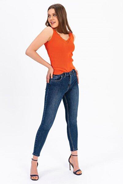 TIFFANY&TOMATO Kadın Mavi Tırnaklı Skınny Jeans Pantolon A0048Y833T