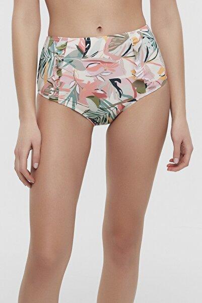 Penti Kadın Çok Renkli Soft Floral Yüksek Bel Ruffle Bikini Altı